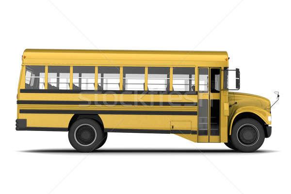 Iskolabusz citromsárga izolált fehér iskola ajtó Stock fotó © anyunoff