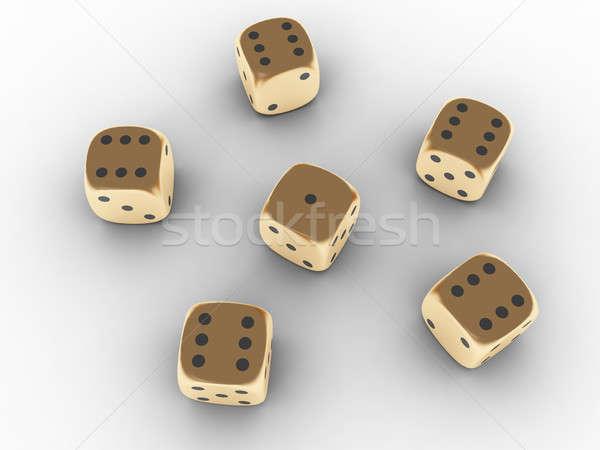 Gouden spelen dobbelstenen bos 3d render groep Stockfoto © anyunoff