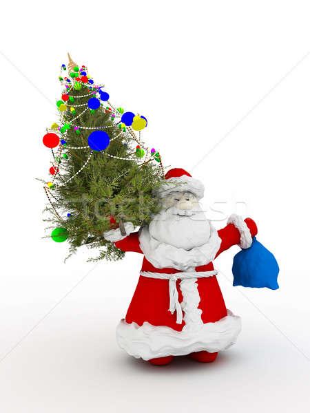 Noel baba noel ağacı ağaç kış tatil kutlama Stok fotoğraf © anyunoff