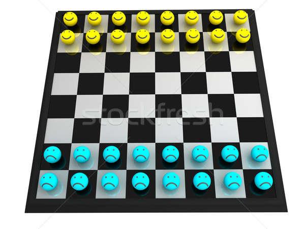 Smileys colore giocare scacchiera bordo sorridere Foto d'archivio © anyunoff