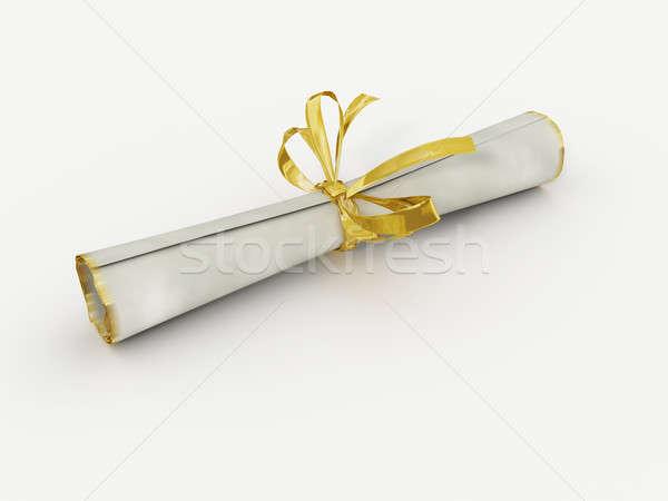 Diploma bianco oro college apprendimento documento Foto d'archivio © anyunoff
