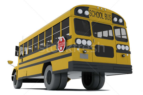 Schoolbus Geel geïsoleerd witte weg student Stockfoto © anyunoff