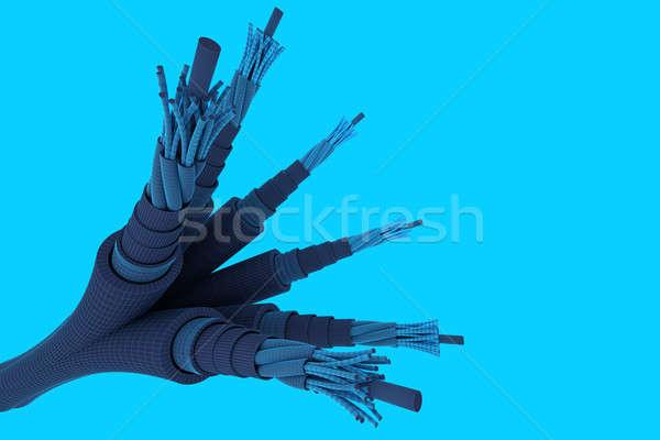 Eléctrica cables grupo aislado azul tecnología Foto stock © anyunoff
