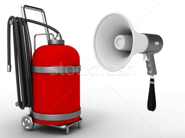 Megafon gaz silindir kırmızı beyaz konuşmacı Stok fotoğraf © anyunoff