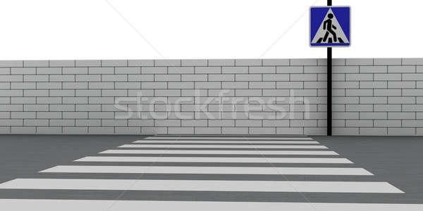 Absurdo estrada parede de tijolos abstrato rua Foto stock © anyunoff