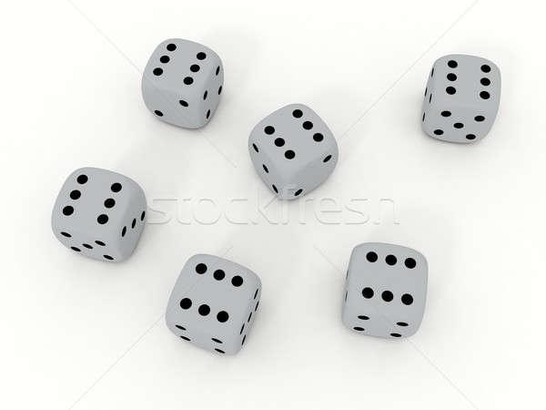 Beyaz oynama zarlar 3d render grup Stok fotoğraf © anyunoff