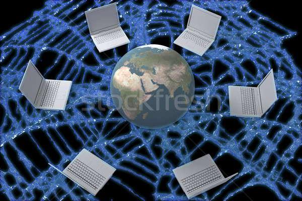 World wide web vários laptops planeta terra teia computador Foto stock © anyunoff