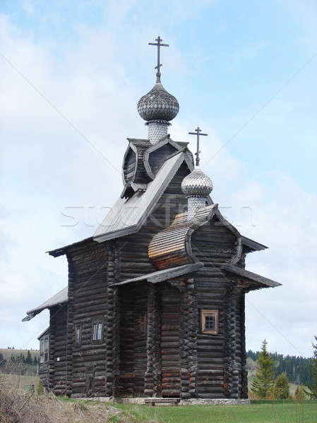 Ahşap kilise eski rus mimari Tanrı Stok fotoğraf © anyunoff