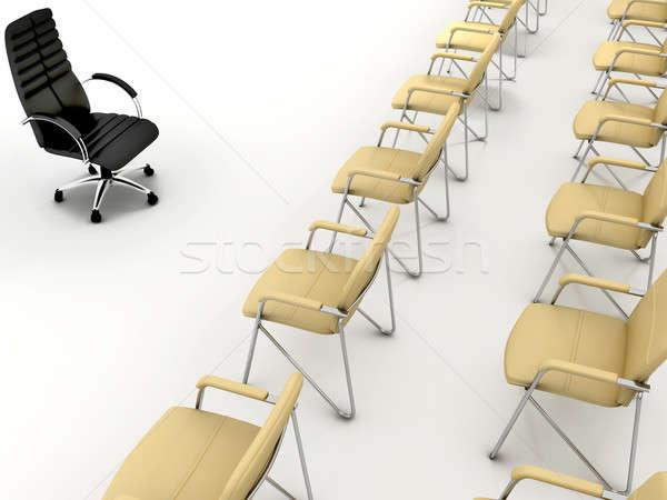 Trabajo en equipo oficina sillas uno negro grupo Foto stock © anyunoff
