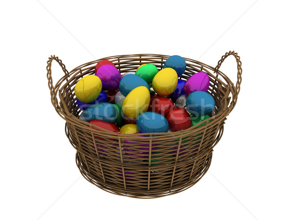 Basket with colored eggs Stock photo © anyunoff