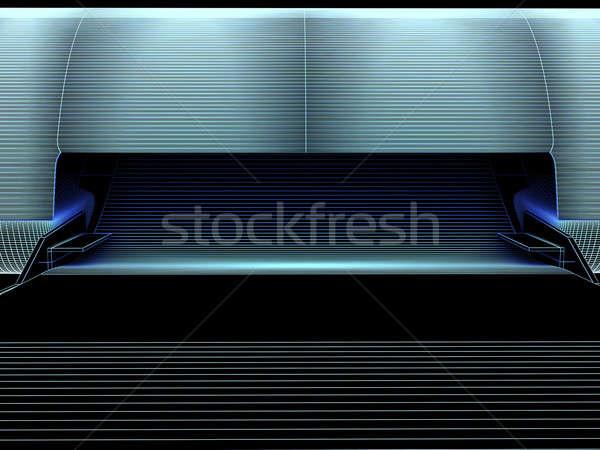 Stampante linee nero primo piano view business Foto d'archivio © anyunoff