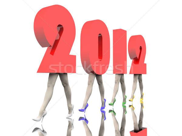 Nowego rok numery nowy rok 2012 nogi Zdjęcia stock © anyunoff
