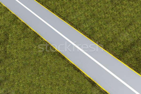 Carretera hierba 3D resumen hacer puesta de sol Foto stock © anyunoff