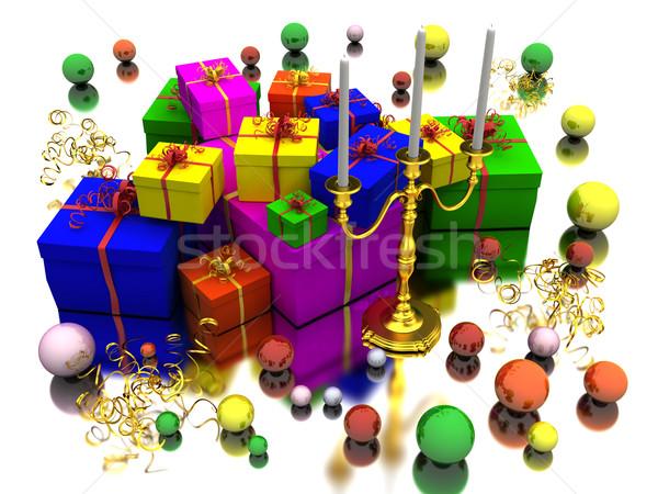 Candela regali scatola regalo colore specchio Foto d'archivio © anyunoff