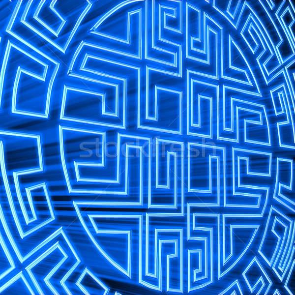 Mavi labirent 3d render ışık duvar oyuncak Stok fotoğraf © anyunoff