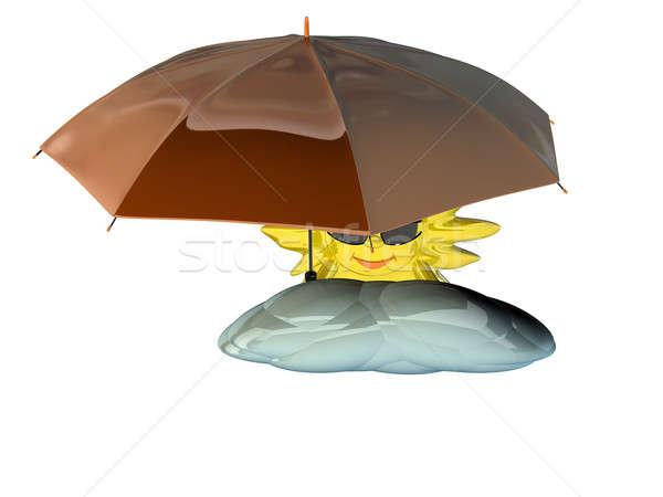 Cartoon sol paraguas gafas aislado blanco Foto stock © anyunoff