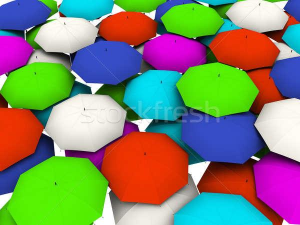 Veel parasols kleur 3d render top Stockfoto © anyunoff