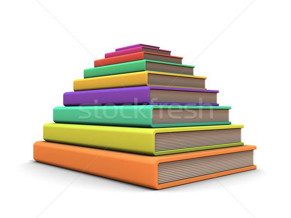 Disposición libro pirámide libros blanco papel Foto stock © anyunoff