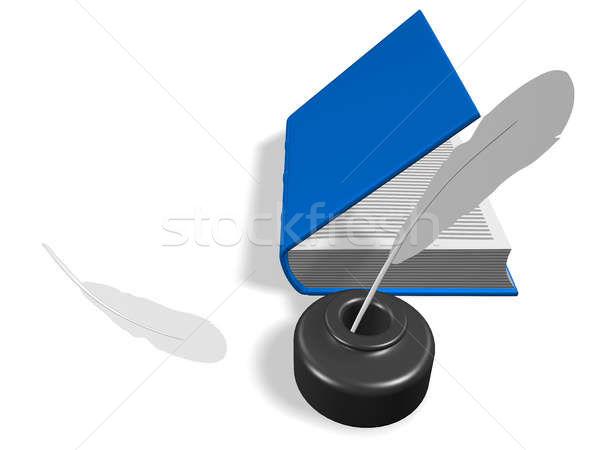 Libro abierto pluma disposición 3d aislado blanco Foto stock © anyunoff