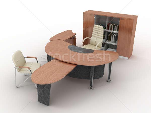 Bútor teljes szett iroda izolált fehér Stock fotó © anyunoff