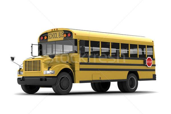 Schoolbus Geel geïsoleerd witte school deur Stockfoto © anyunoff