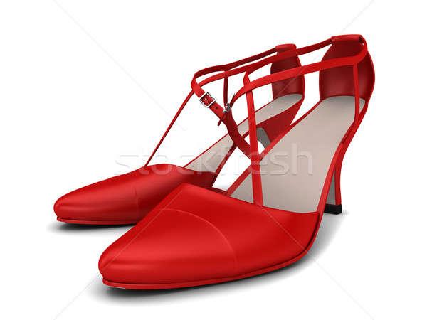 Vrouw schoenen twee Rood geïsoleerd witte Stockfoto © anyunoff