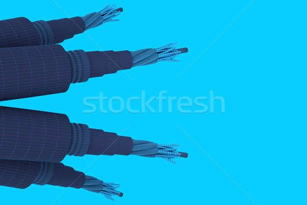 Eléctrica cables grupo aislado azul Foto stock © anyunoff