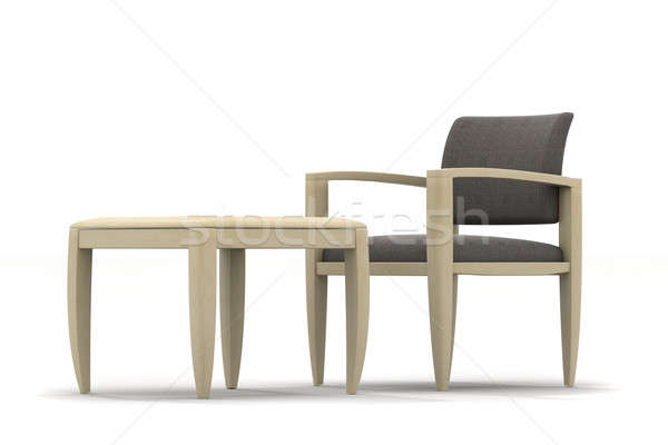 Fauteuil tabel lage tafel licht hout Stockfoto © anyunoff