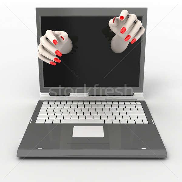 Notebook mani fuori monitor donna Foto d'archivio © anyunoff