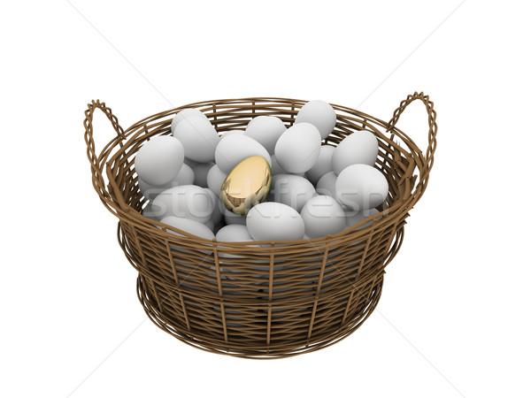 Basket uova uno uova d'oro uovo regalo Foto d'archivio © anyunoff