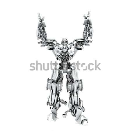 Dourado robô transformador isolado branco 3d render Foto stock © anyunoff