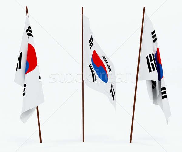Bayrak Güney Kore beyaz kültür afiş bekçi Stok fotoğraf © anyunoff