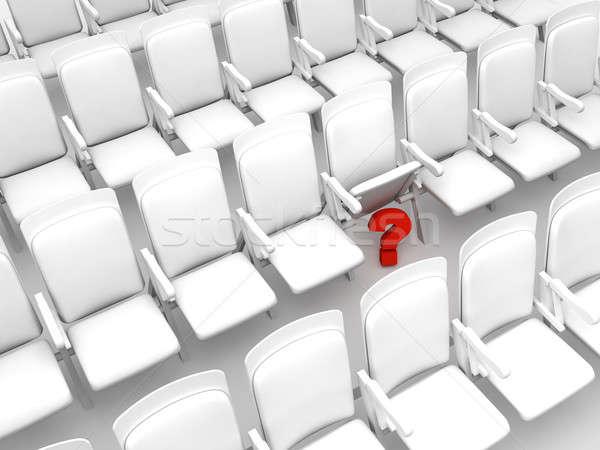Verborgen vraagteken witte stoelen Stockfoto © anyunoff