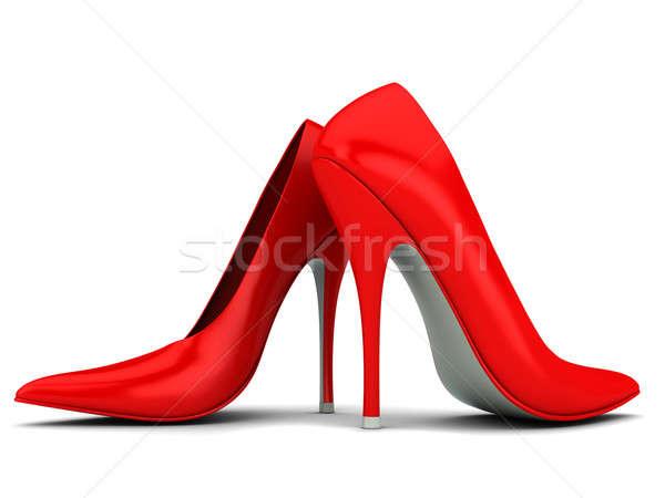 Mujer zapatos dos rojo aislado blanco Foto stock © anyunoff