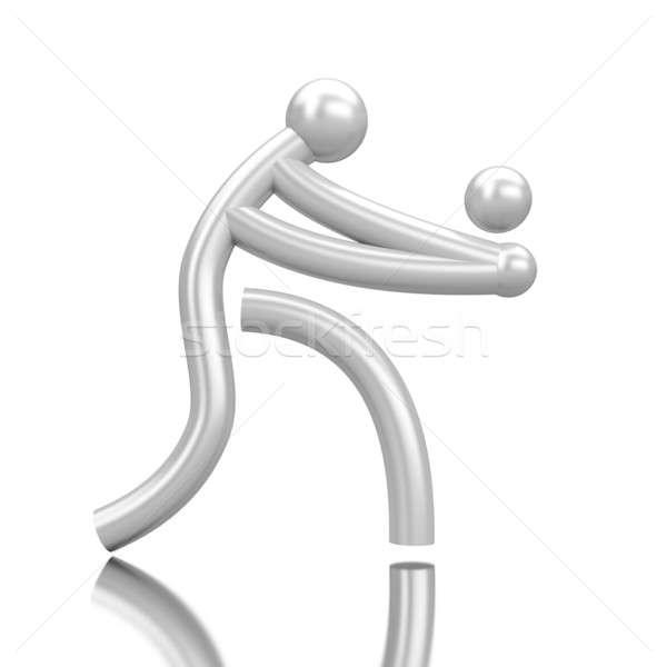 Deporte icono voleibol aislado espejo avión Foto stock © anyunoff
