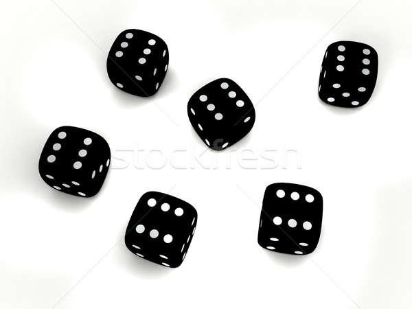 Stok fotoğraf: Siyah · oynama · zarlar · 3d · render · grup