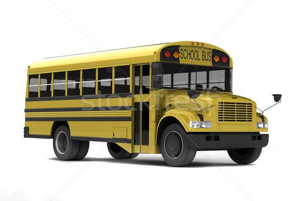 Stok fotoğraf: Okul · otobüsü · sarı · yalıtılmış · beyaz · okul · kapı