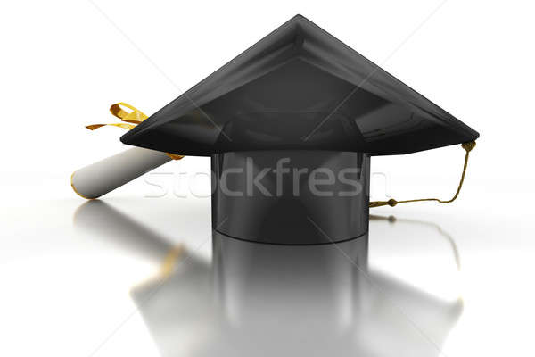Bachelor's hat and diploma Stock photo © anyunoff