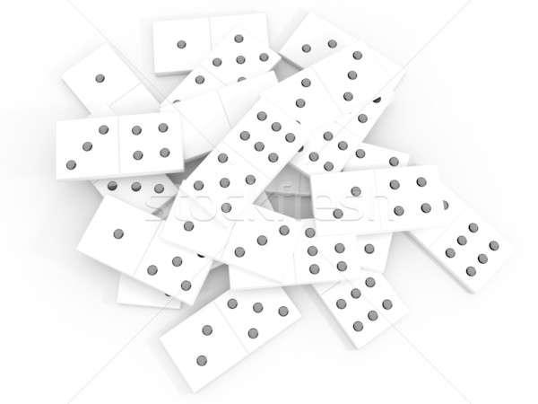 Dominó blanco brillante huesos piedra juguete Foto stock © anyunoff