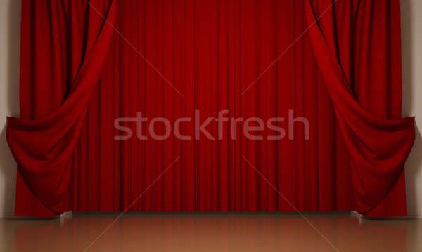 Cortinas rojo tejido interior cortina tela Foto stock © anyunoff