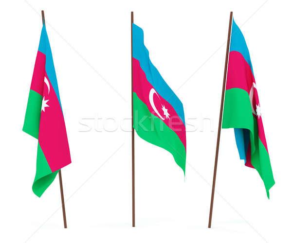 Bayrak Azerbeycan beyaz kültür afiş bekçi Stok fotoğraf © anyunoff
