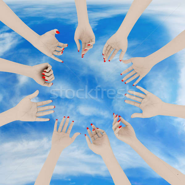 Mains ciel rendu 3d main foule Photo stock © anyunoff