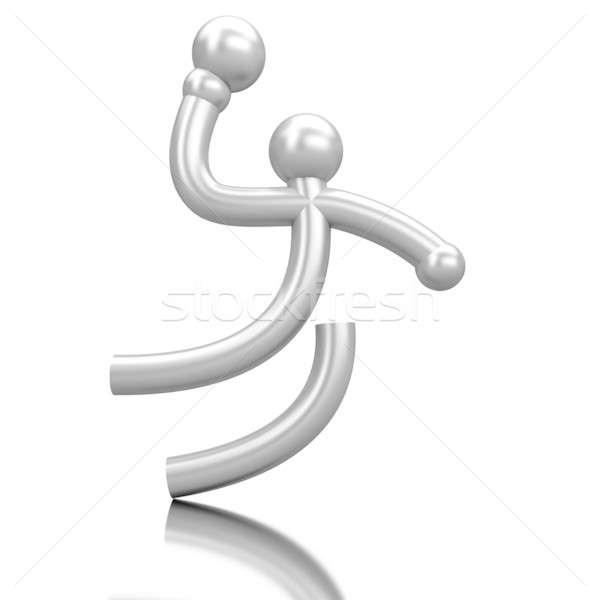 Spor ikon hentbol yalıtılmış ayna düzlem Stok fotoğraf © anyunoff