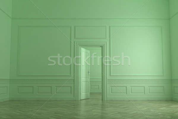 Interieur abstract groene 3d render huis ontwerp Stockfoto © anyunoff