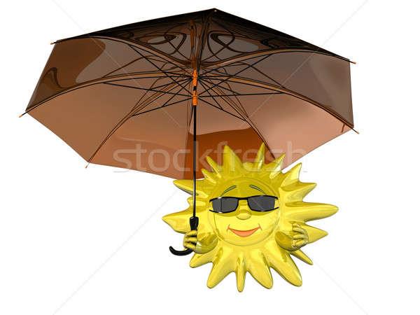 Karikatür güneş şemsiye gözlük yalıtılmış beyaz Stok fotoğraf © anyunoff