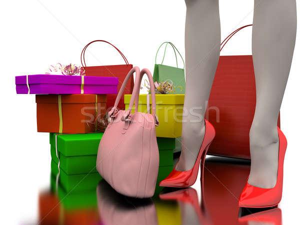 Borse shopping regali rosa bag bianco Foto d'archivio © anyunoff
