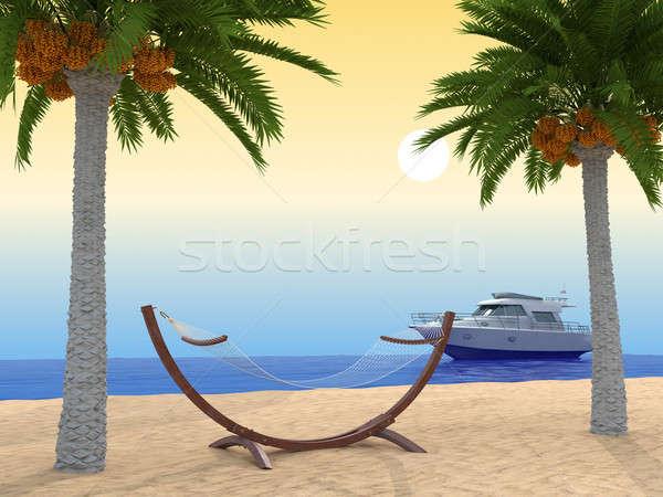 Spiaggia tropicale Palm nave rendering 3d cielo albero Foto d'archivio © anyunoff