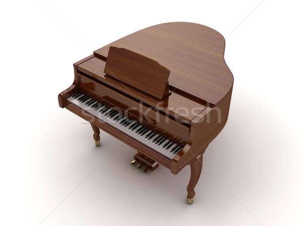 Kuyruklu piyano kahverengi yalıtılmış ışık müzik klavye Stok fotoğraf © anyunoff
