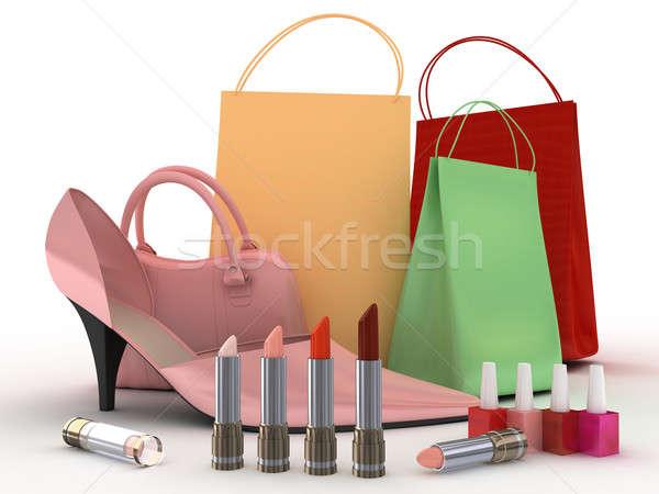 Pembe ayakkabı çanta ayakkabı renk ruj Stok fotoğraf © anyunoff