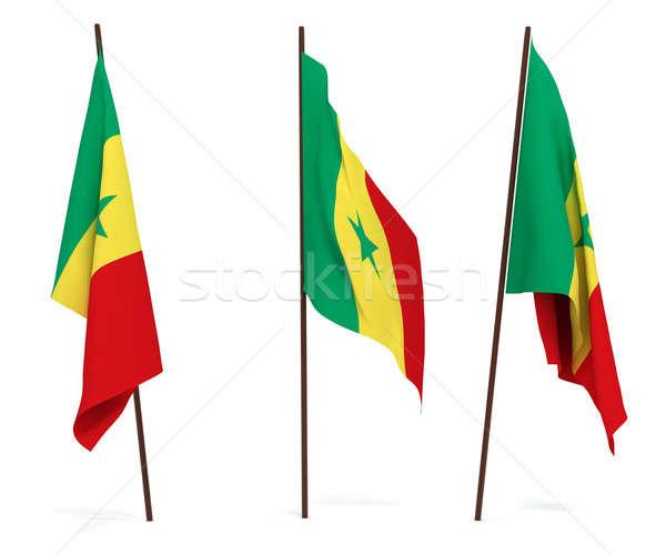 Pavillon Sénégal blanche culture bannière garde Photo stock © anyunoff